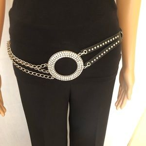 Leather chain and rhinestone hipster belt